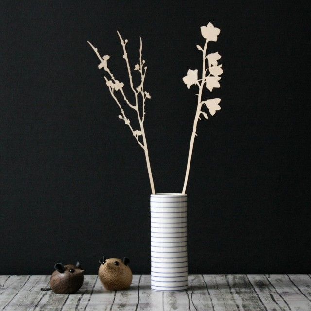 Cherry blossom and Bellflower - wooden flowers (Small)
