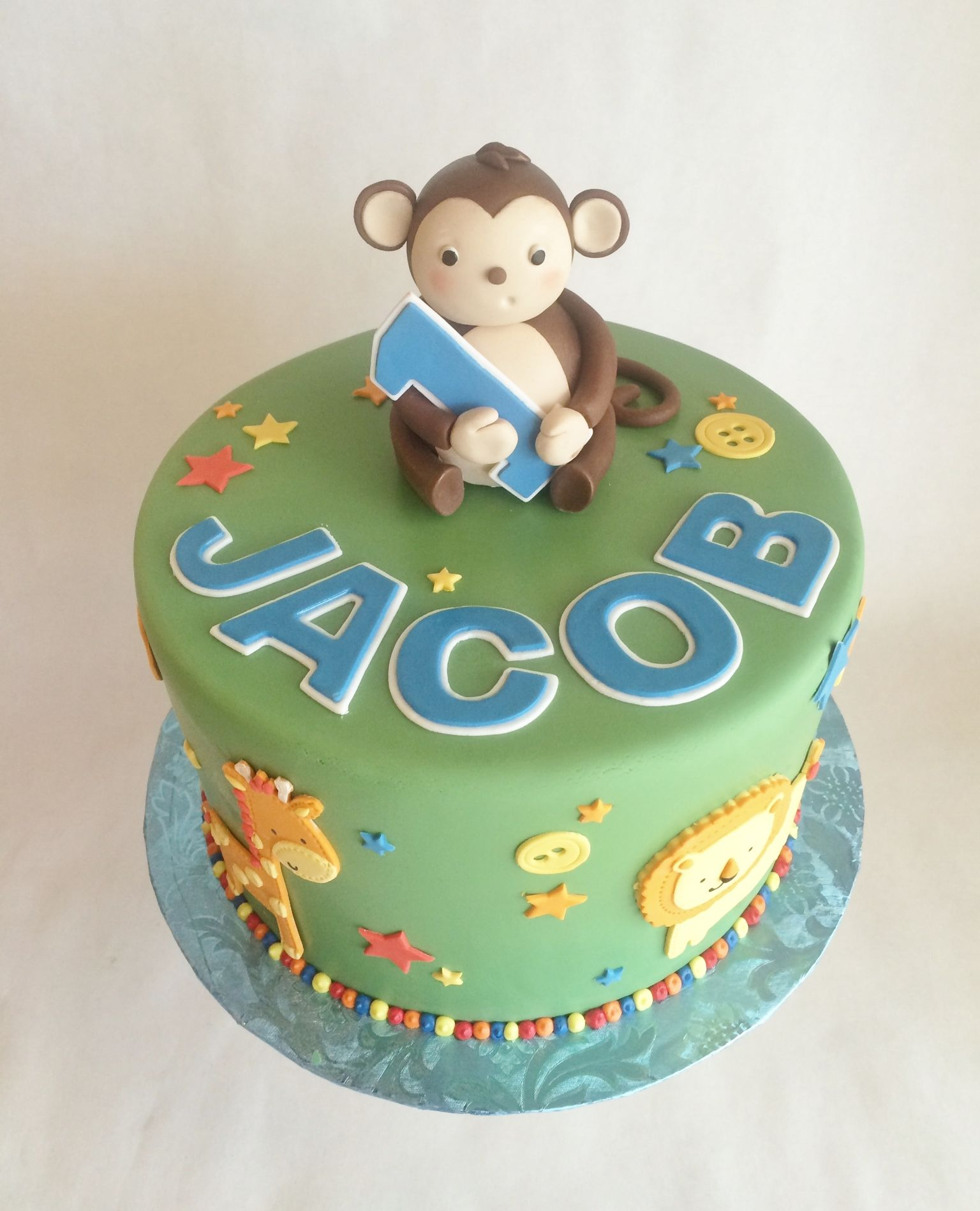 1st birthday cake birthday cake monkey custom topper fondant