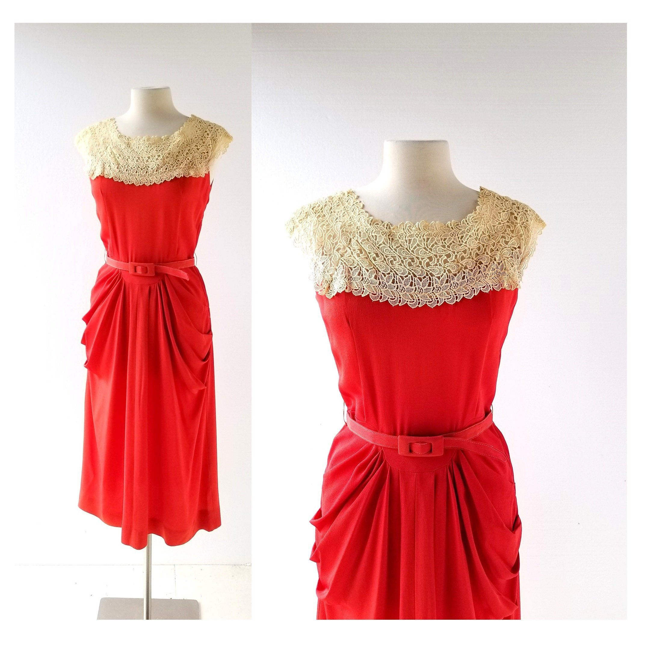 1940s Red Dress Lace Collar Dress 40s Dress S M Etsy Red Lace Dress Red Dress Collar Dress [ 2144 x 2144 Pixel ]
