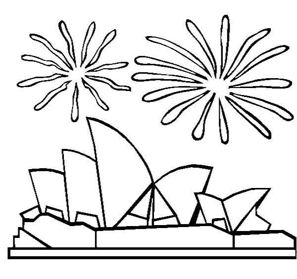 fireworks over buildings in australia coloring pages - Australia Coloring Pages Kids