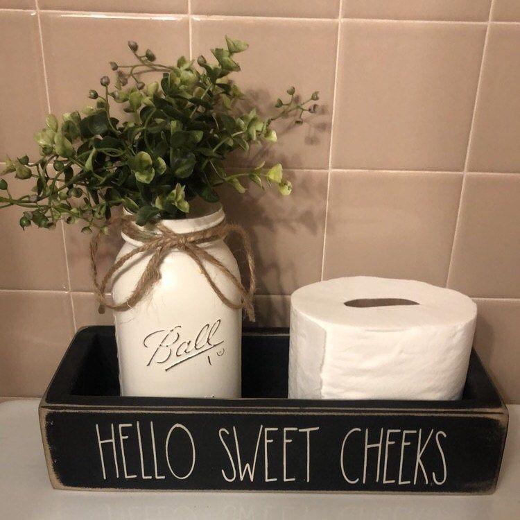 Photo of Hello Sweet Cheeks, Wood Toilet Box, Toilet Tray, Bathroom Toilet Tray, Bathroom Decor, Bathroom Humor, Nice Butt Tray, Sign, Toilet Tank