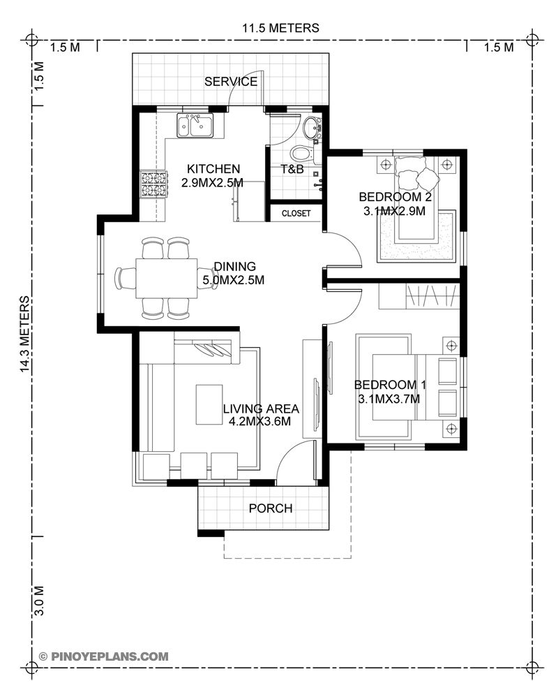 Katrina Stylish Two Bedroom House Plan Pinoy Eplans Two Bedroom House Bedroom House Plans 2 Bedroom House Design