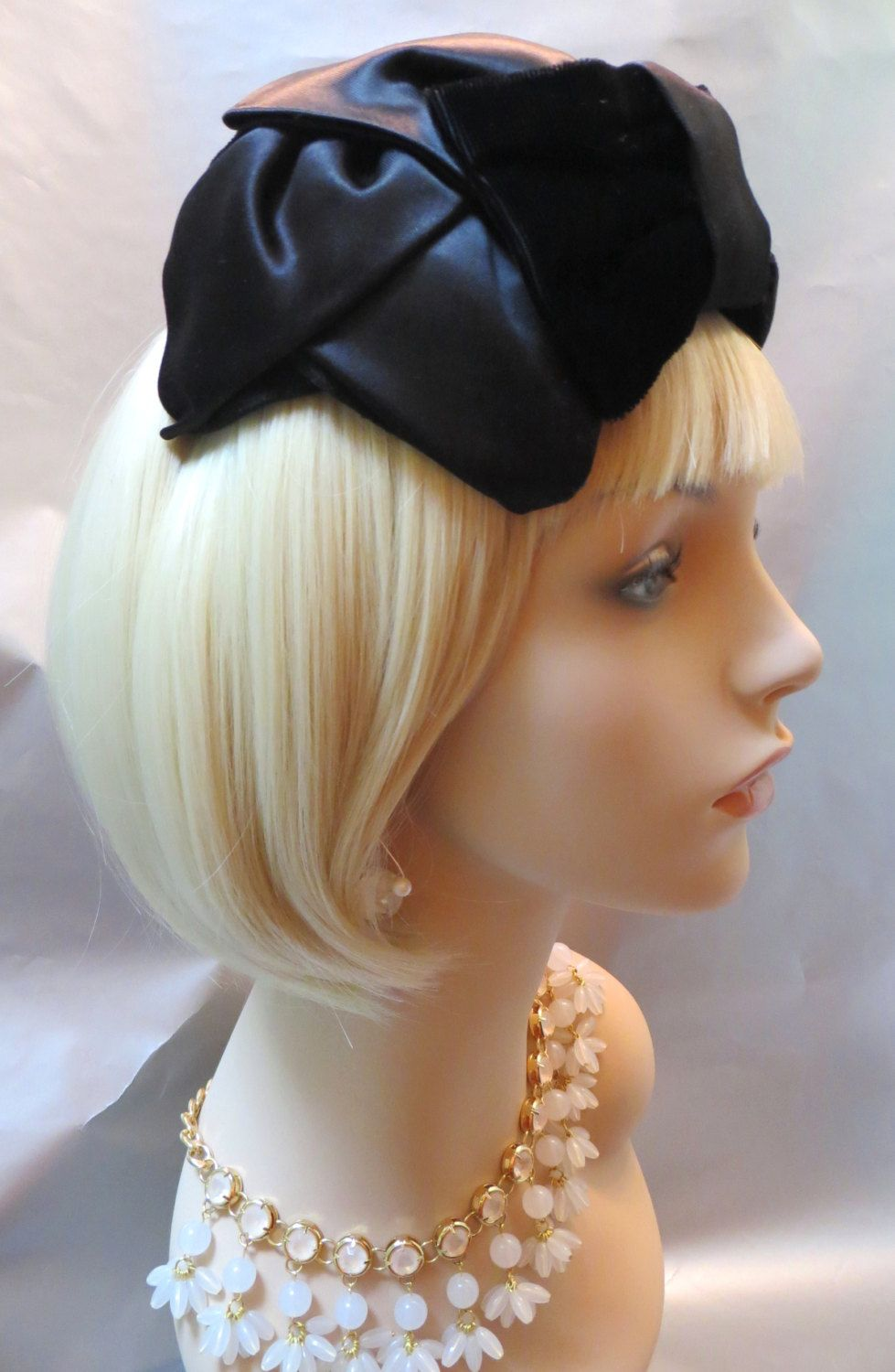 fb501b7a9ed Ladies Beautiful Black Velvet Big Bow Satin Half Hat