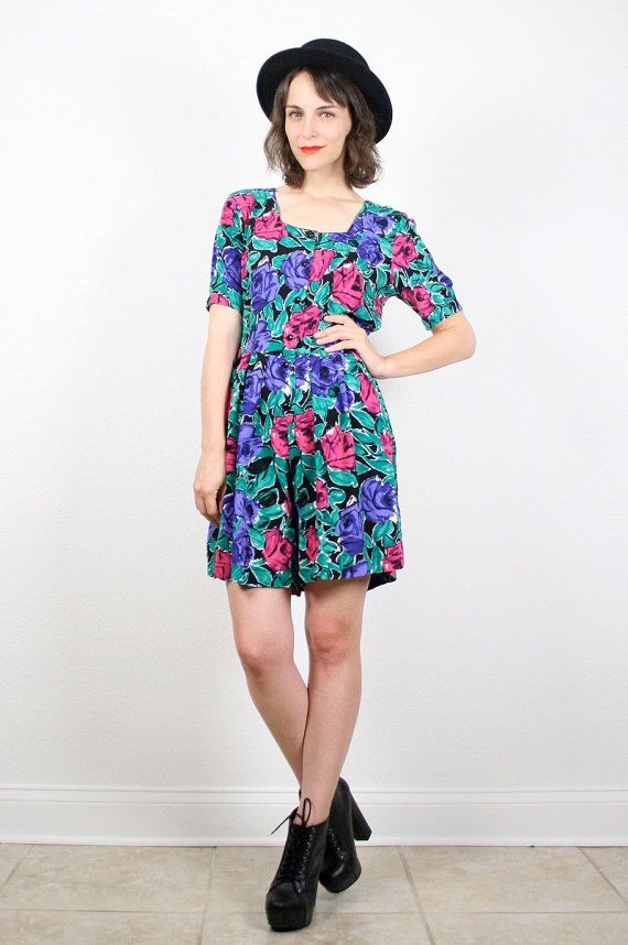 a6bea201e40c Vintage 90s Romper Grunge Playsuit Green Pink by ShopTwitchVintage ...