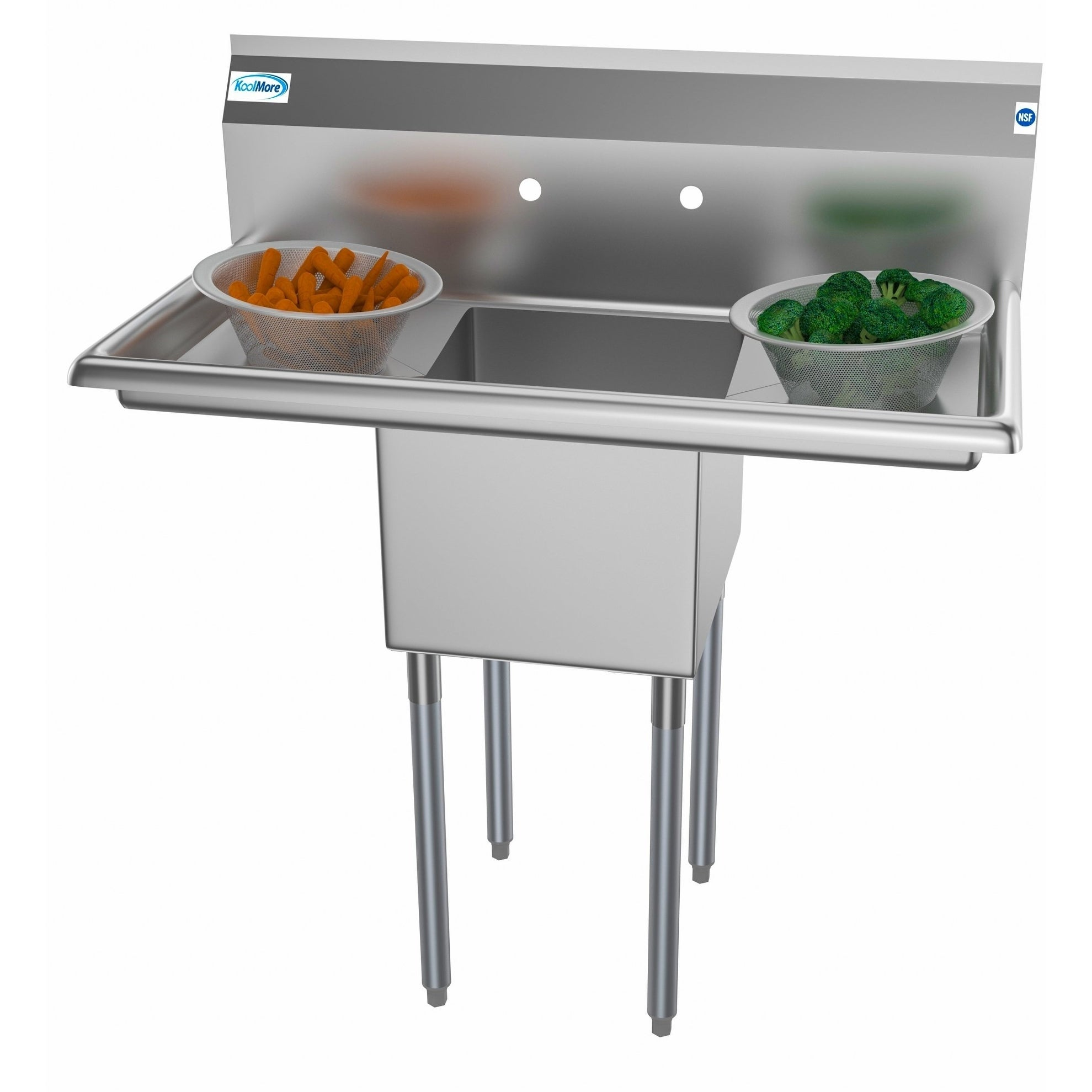 Koolmore 38 Inch Stainless Steel Commercial Kitchen Prep Sink 2 Drainboards Gray Commercial Kitchen Commercial Kitchen Sinks Kitchen Prep Sink