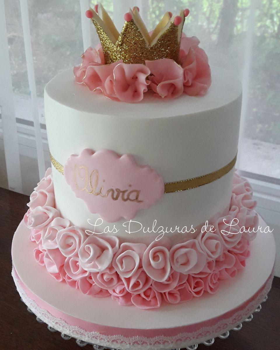 Corona de princesa, doble altura Baby shower cakes girl