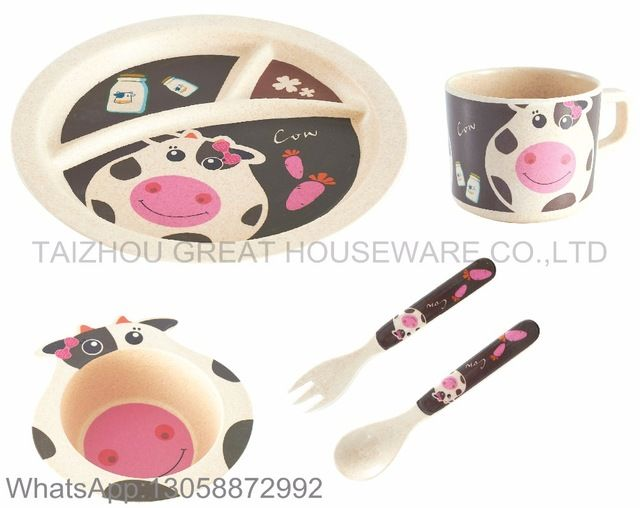 Source Great Brand 2017 New Style Melamine Children Dinner Set Cow Decal Kids  Tableware Sets On