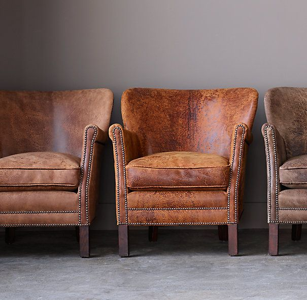 Holden's chair in Italian Destroyed leather - Professor's Leather Chair  With Nailheads
