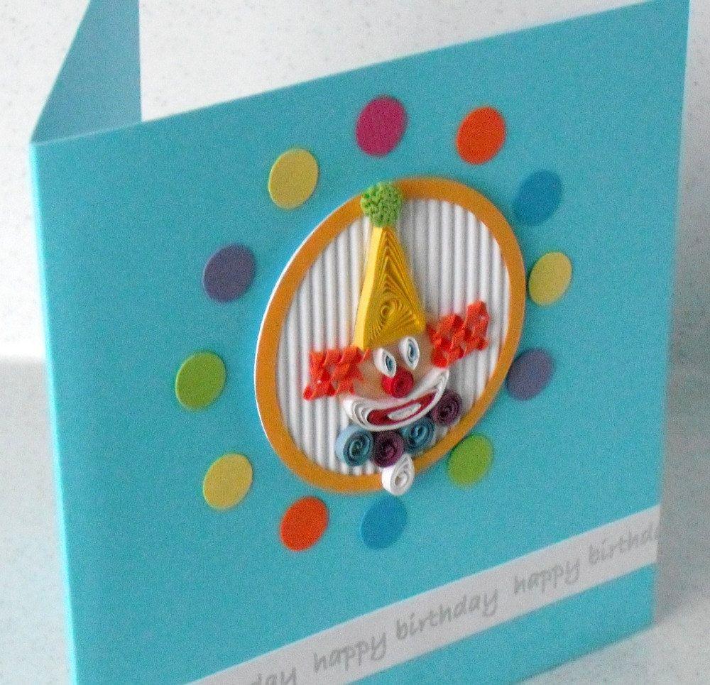 Children S Quilled Clown Birthday Card Paper Quilling Etsy Kids Birthday Cards Quilling Cards Birthday Cards