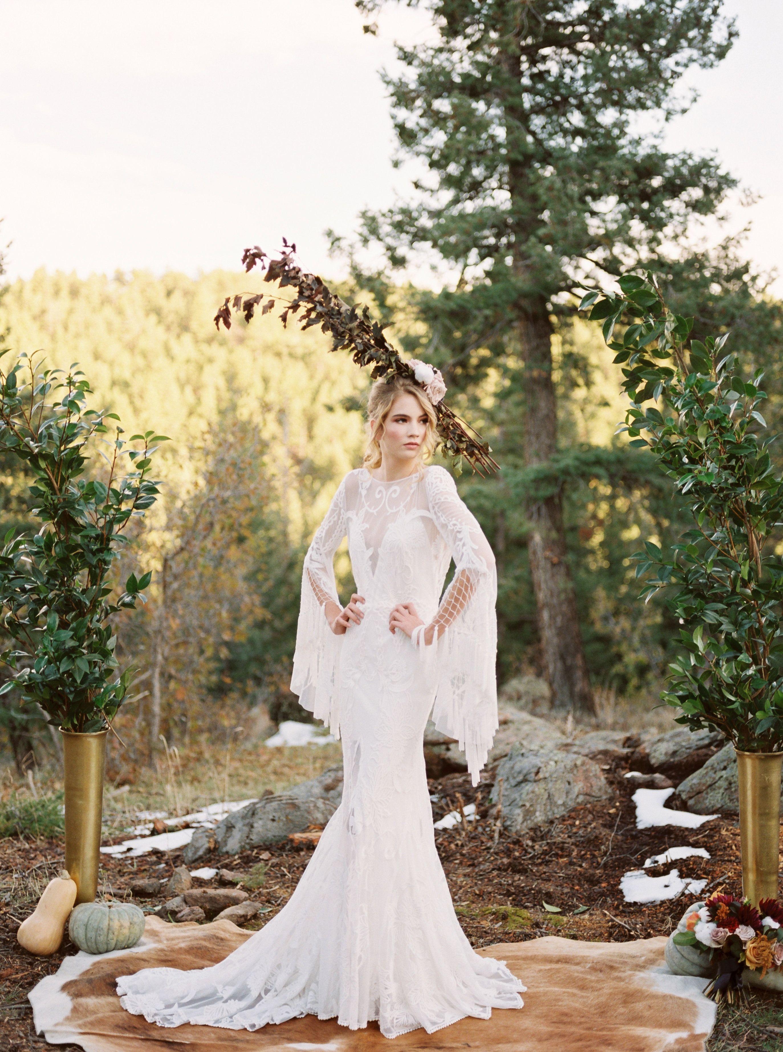 Colorado mountain wedding boho floral headpiece woodlands colorado
