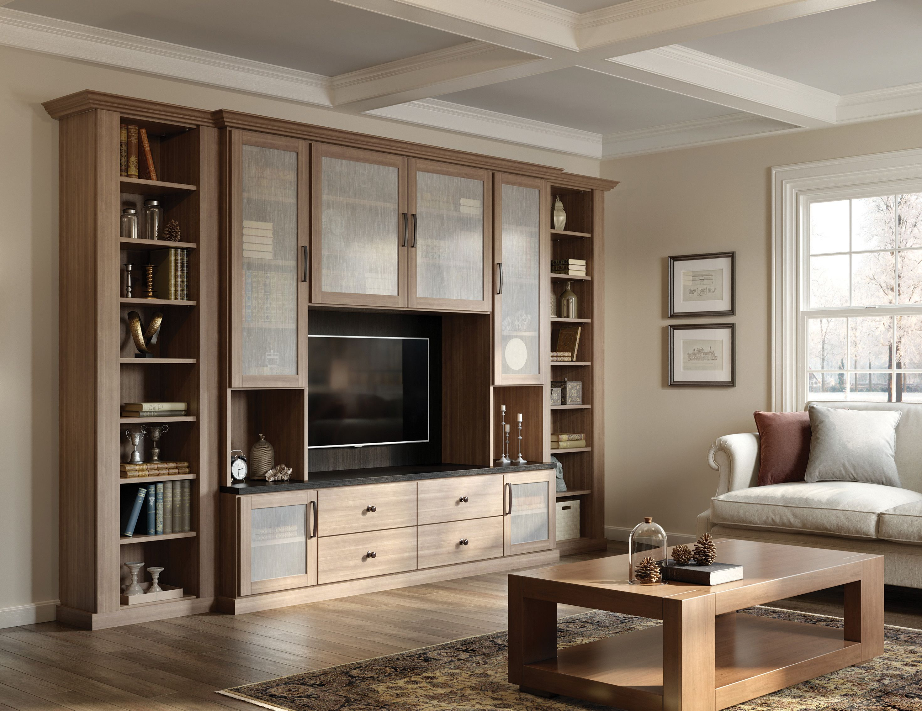 Blending storage space with inviting displays this media center