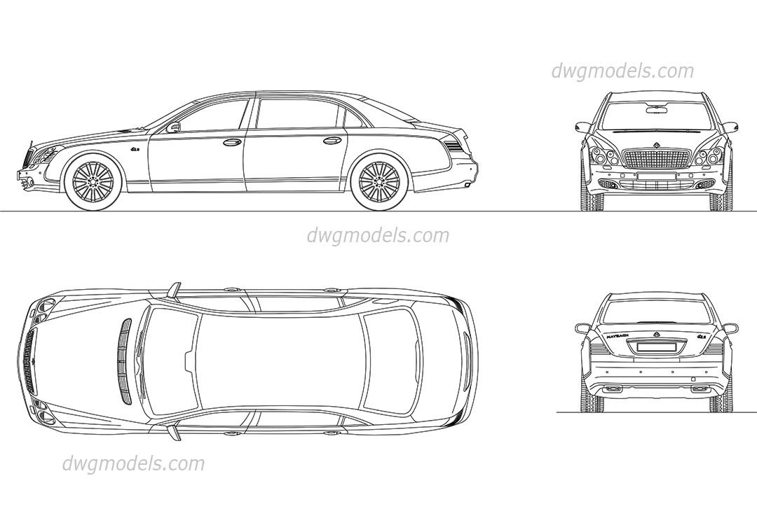 Maybach 62s cad blocks free dwg file cars for Car plan cad