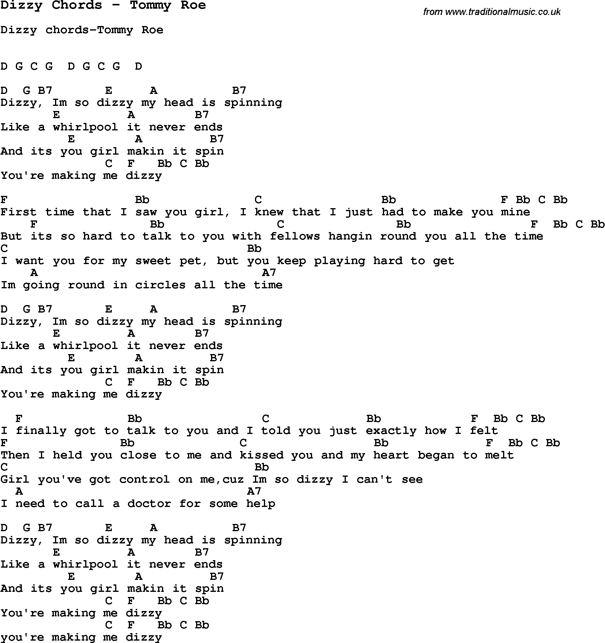 Song dizzy chords by tommy roe with lyrics for vocal performance song dizzy chords by tommy roe song lyric for vocal performance plus accompaniment chords for ukulele guitar banjo etc hexwebz Gallery