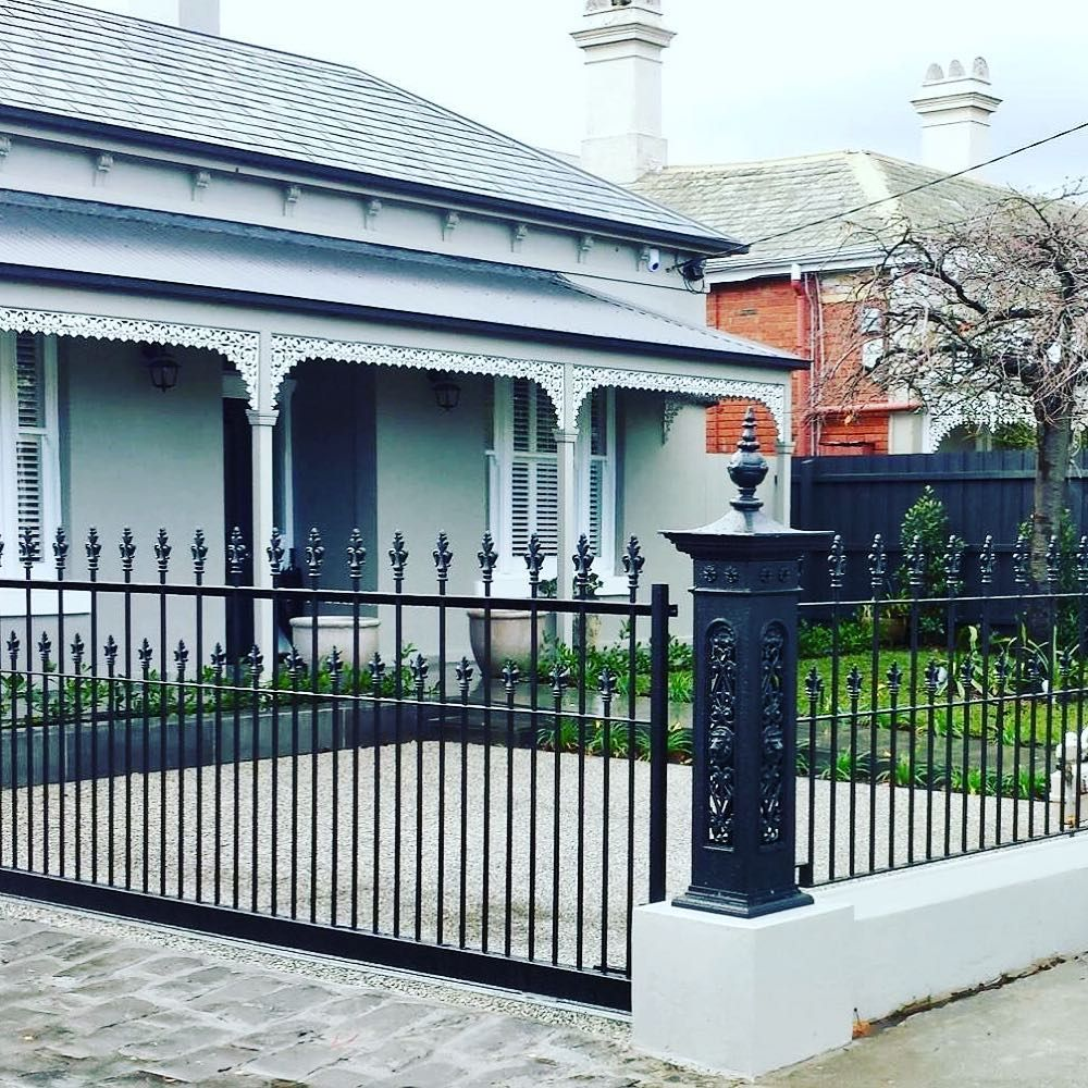 Traditional Wrought Iron Sliding Gate And Front Fence Complete