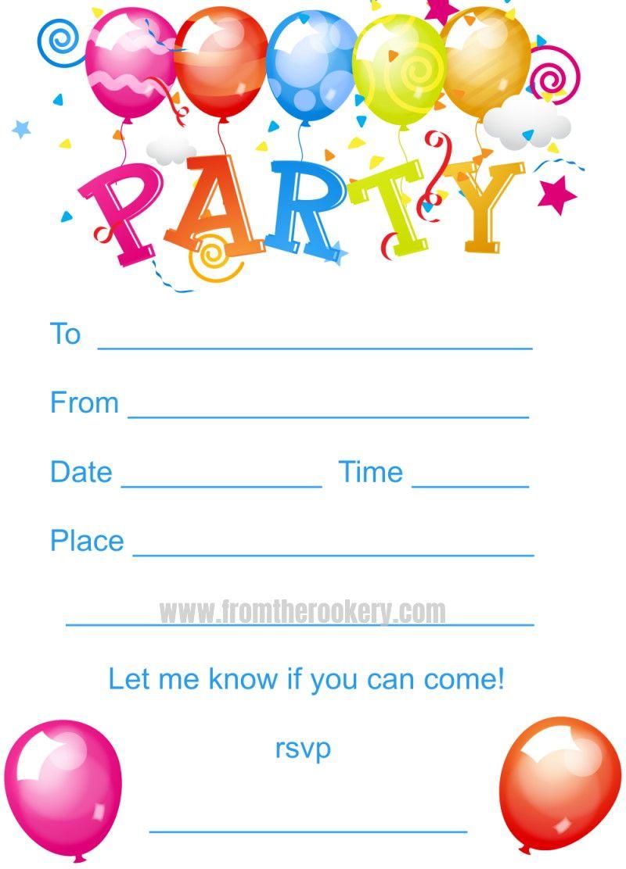Kids Birthday Party Invites In 2021 Birthday Party Invitations Printable Free Birthday Invitation Templates Party Invite Template