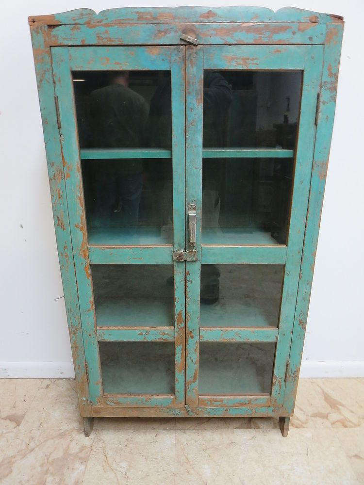 Antique Primitive Indian Reclaimed Hutch Glass Door China Cabinet Cupboard  m D - Antique Primitive Indian Reclaimed Hutch Glass Door China Cabinet
