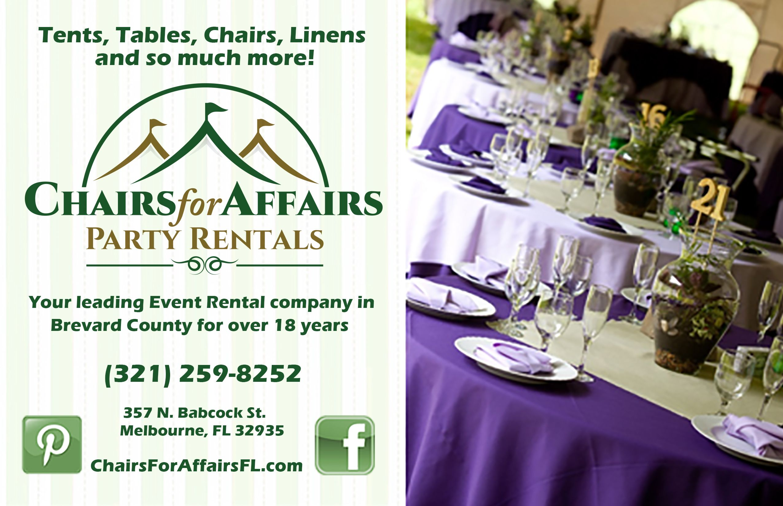 Chairs for Affairs Party Rentals Inc