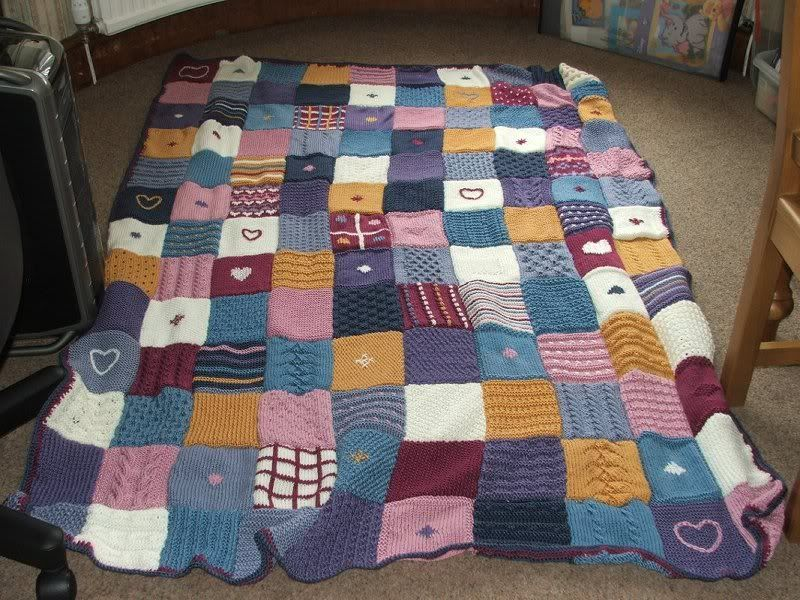 Knitting Patchwork Quilt Patterns : Knitted patchwork blanket knitting sewing pinterest