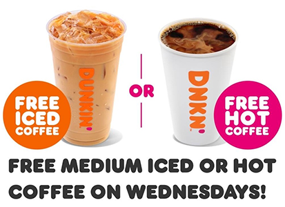 FREE Dunkin' Donuts Medium Iced or Hot Coffee on
