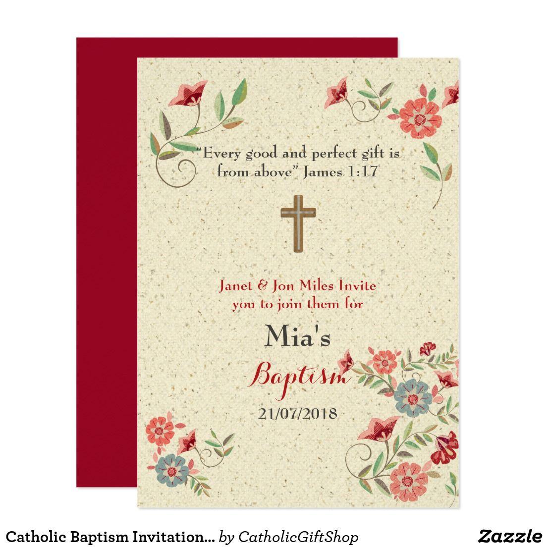 Catholic Baptism Invitation Burgundy Floral Baptism Christening