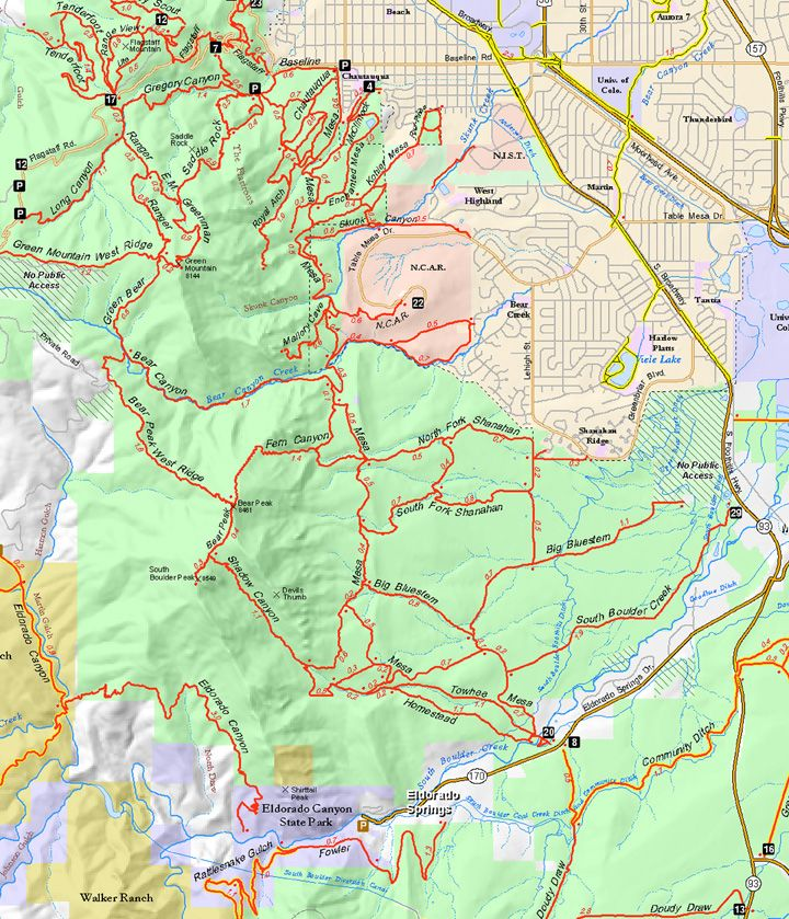 Mesa Trail Map Boulder Colorado South Mesa With Shadow Canyon