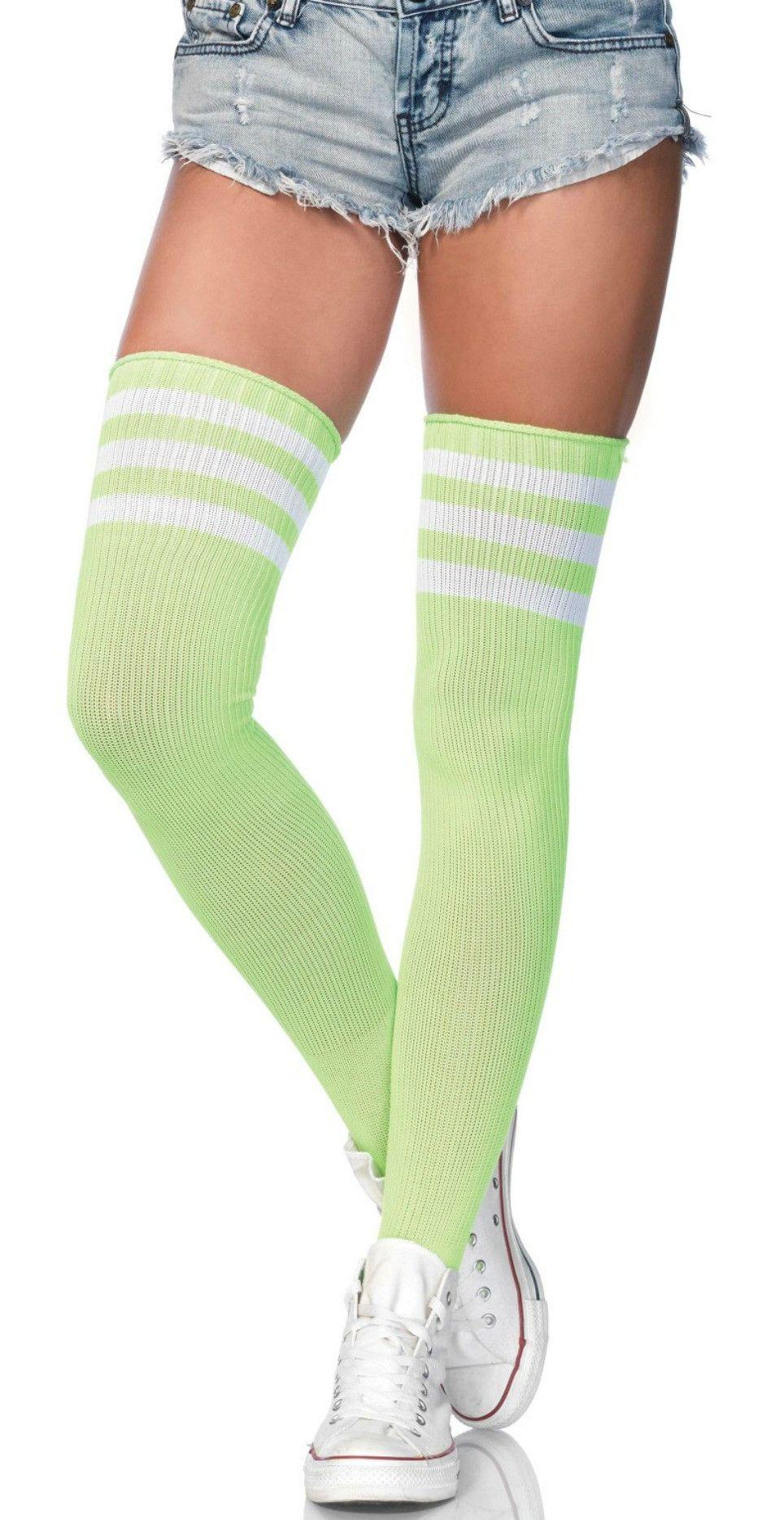 16caeae2cb3 Lime Green and White 3 Stripe Thigh High Socks
