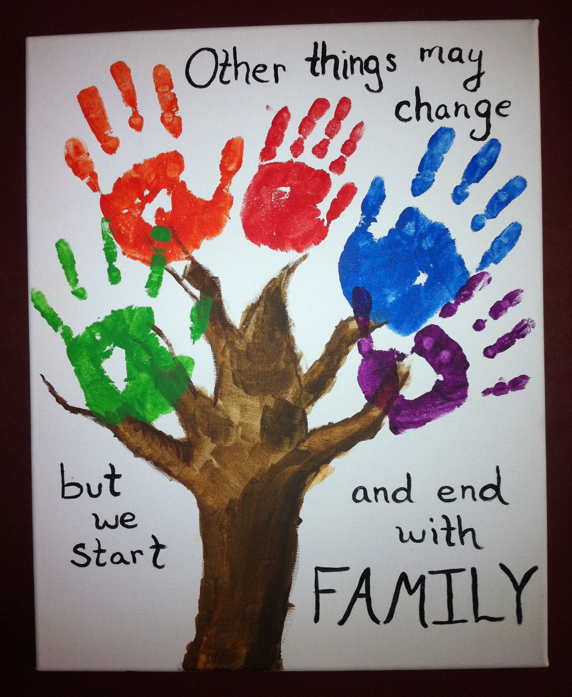 Hand print family tree family trees craft and handprint art for Family arts and crafts