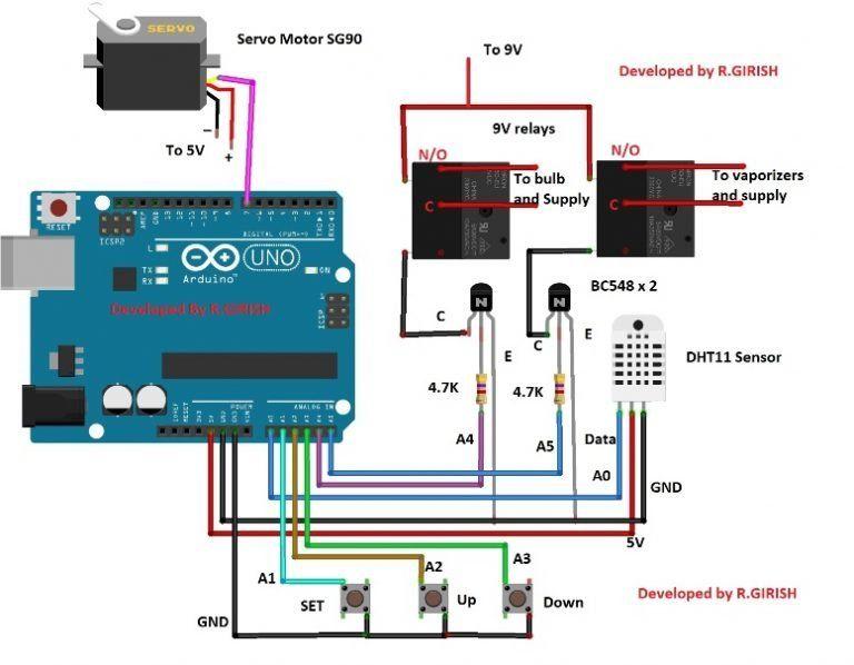 Incubator Using Arduino With Automatic Temperature And Humidity Control Arduino Projekte Elektroniken Elektrotechnik