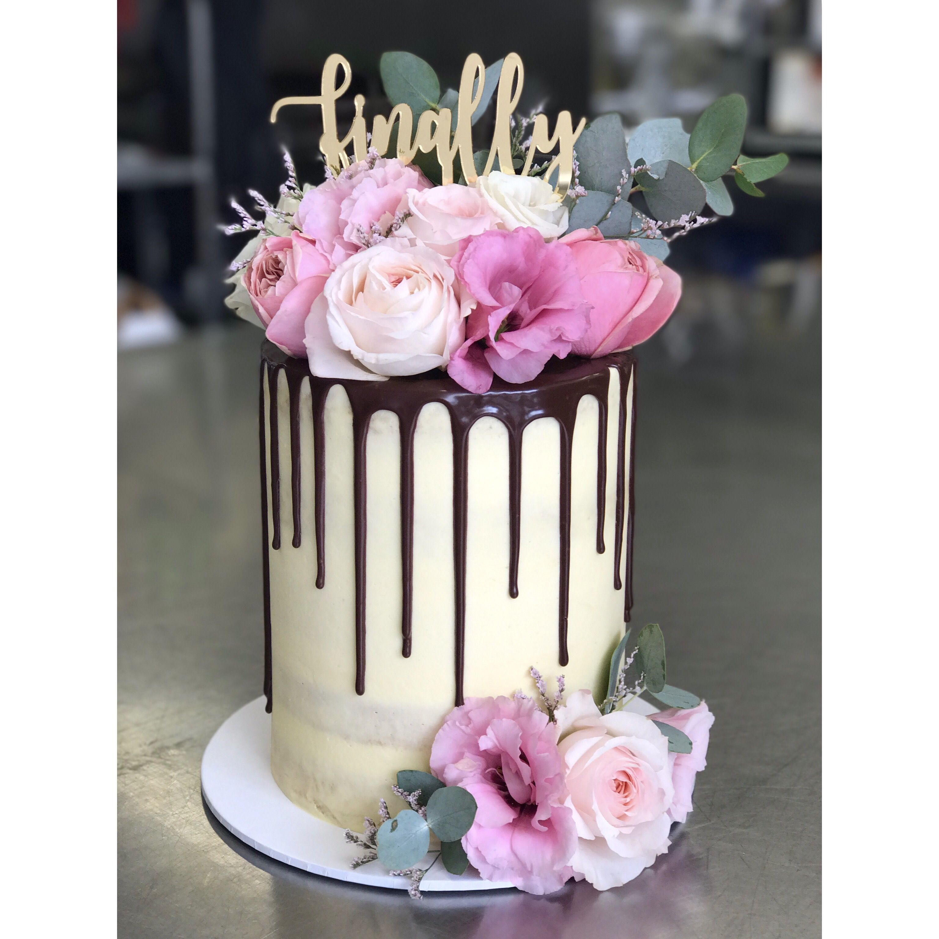 Engagement Cake, Chocolate Drip, Cake Topper, Fresh