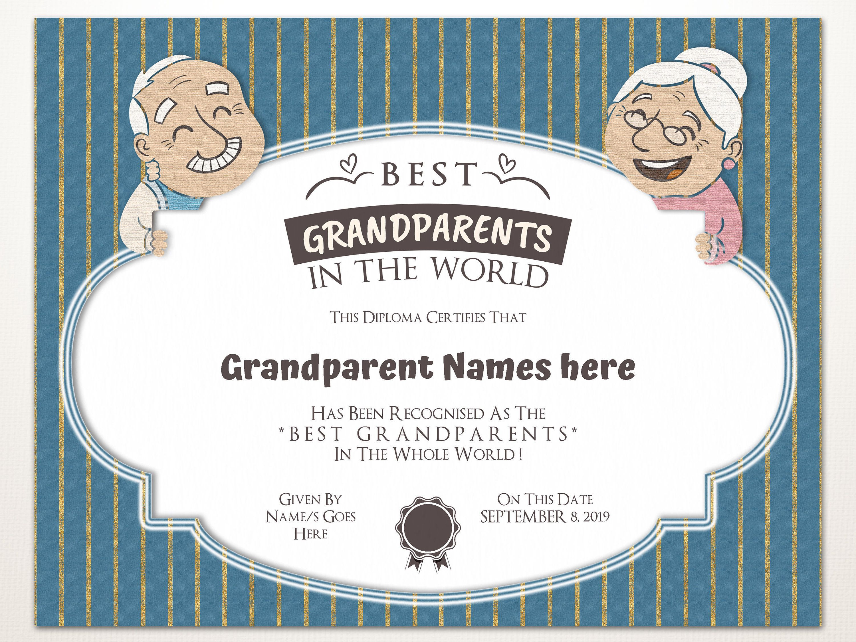 Best Grandparents In The World Gift For Grandparents Day Etsy Editable Certificates Gifts For Grandparents Certificate Templates