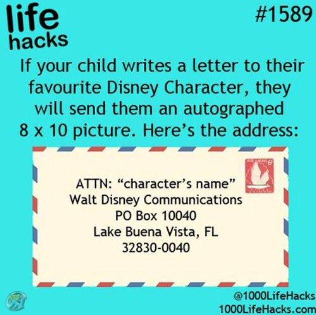 Disney Character Address  Children Activity Ideas