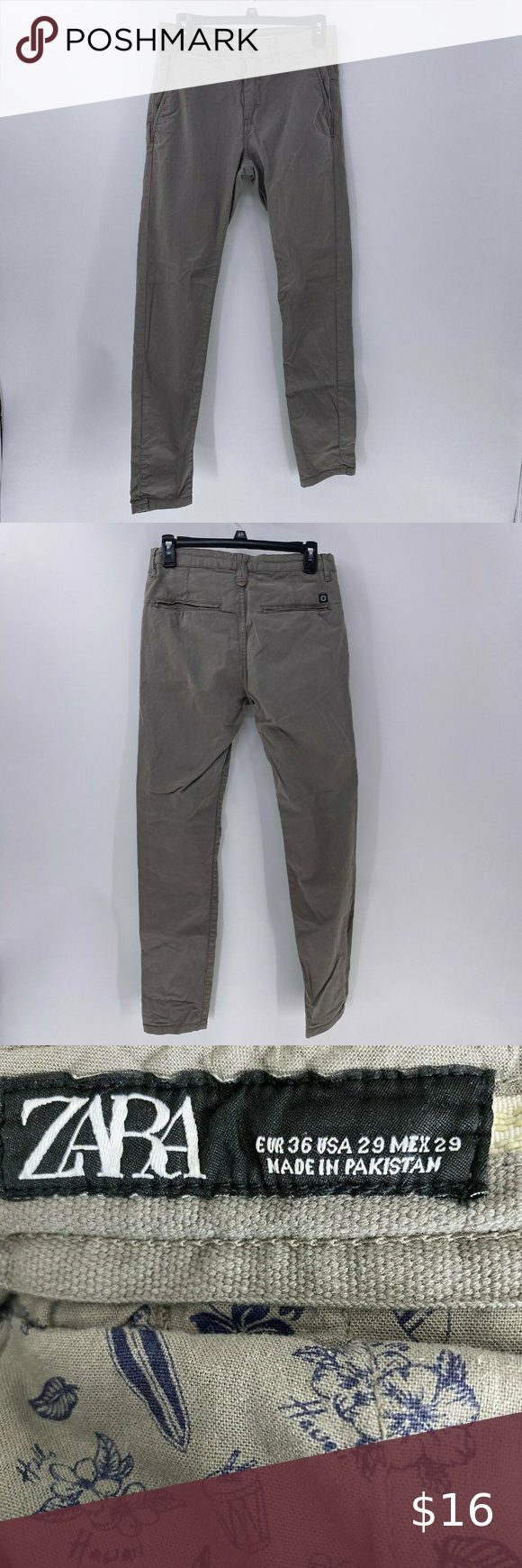 "Zara mens skinny chino pants gray sz 29 Zara mens skinny chino pants gray sz 29 10"" rise 31"" inseam"