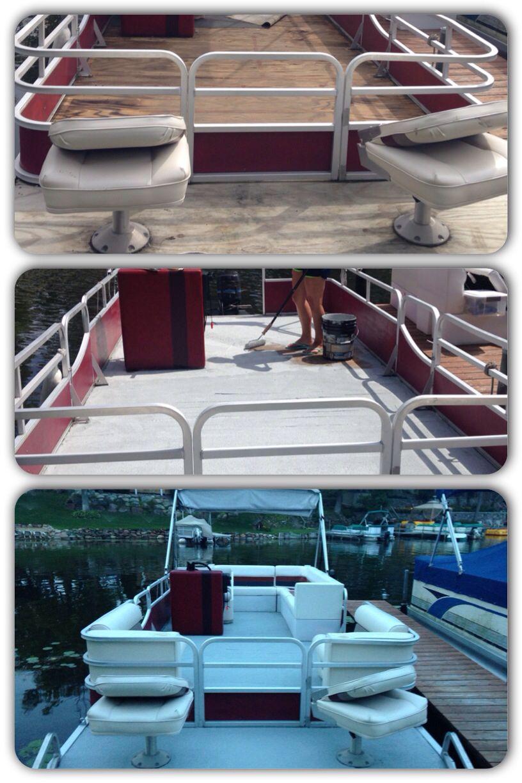 Rustoleum Restore Paint On The Boat Instead Of Carpet Pontoon Boat Accessories Boat Restoration Pontoon Boat