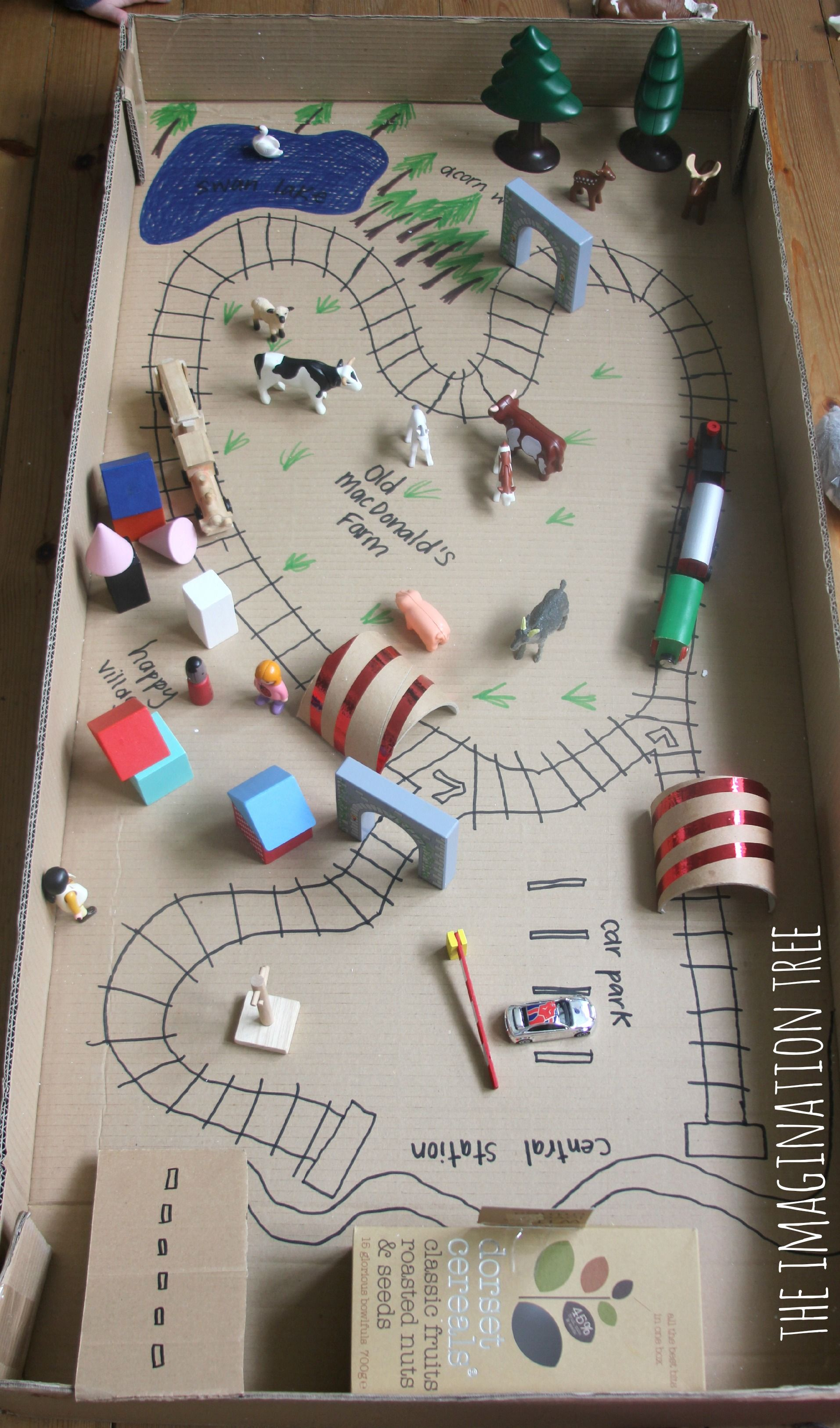 Train Tracks Small World In A Cardboard Box