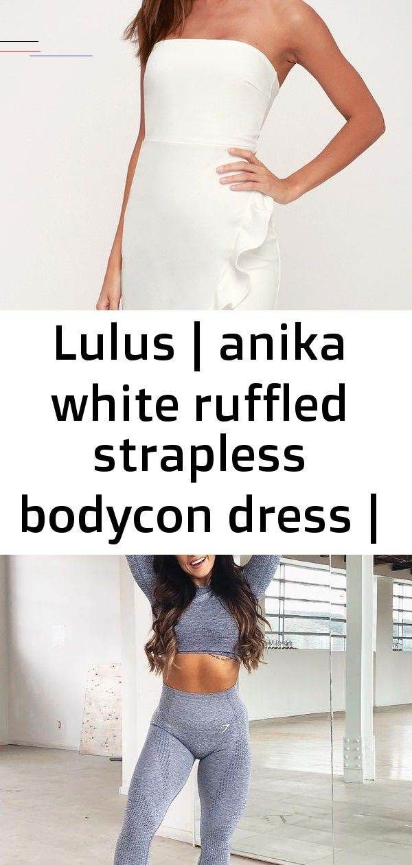 Lulus | anika white ruffled strapless bodycon dress | size x-small | 100% polyester Lulus | Anika Wh...