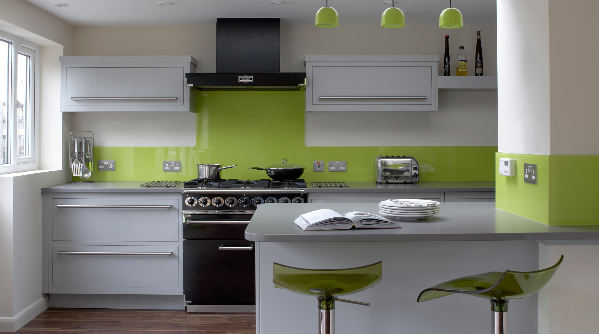 Modern kitchen in green color inspirations amusing white for Grey and green kitchen