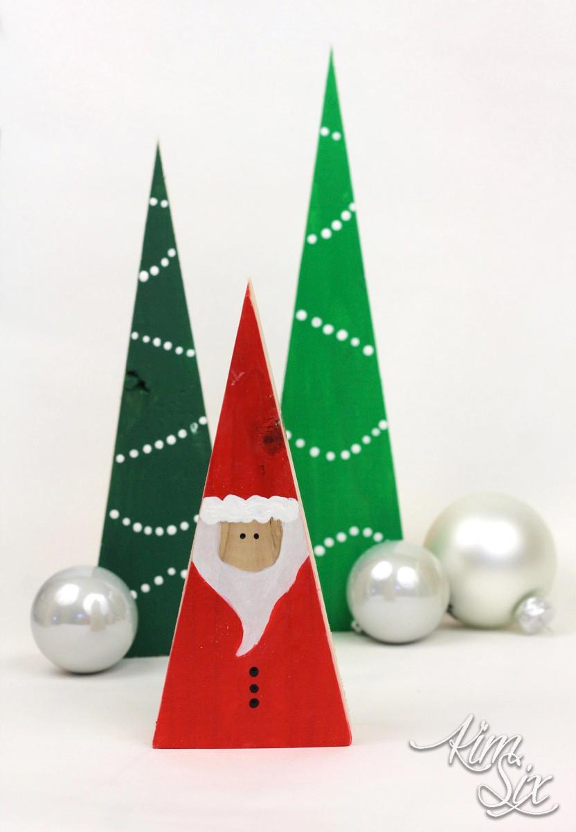 Santas and Trees from Scrap 2x4 Blocks