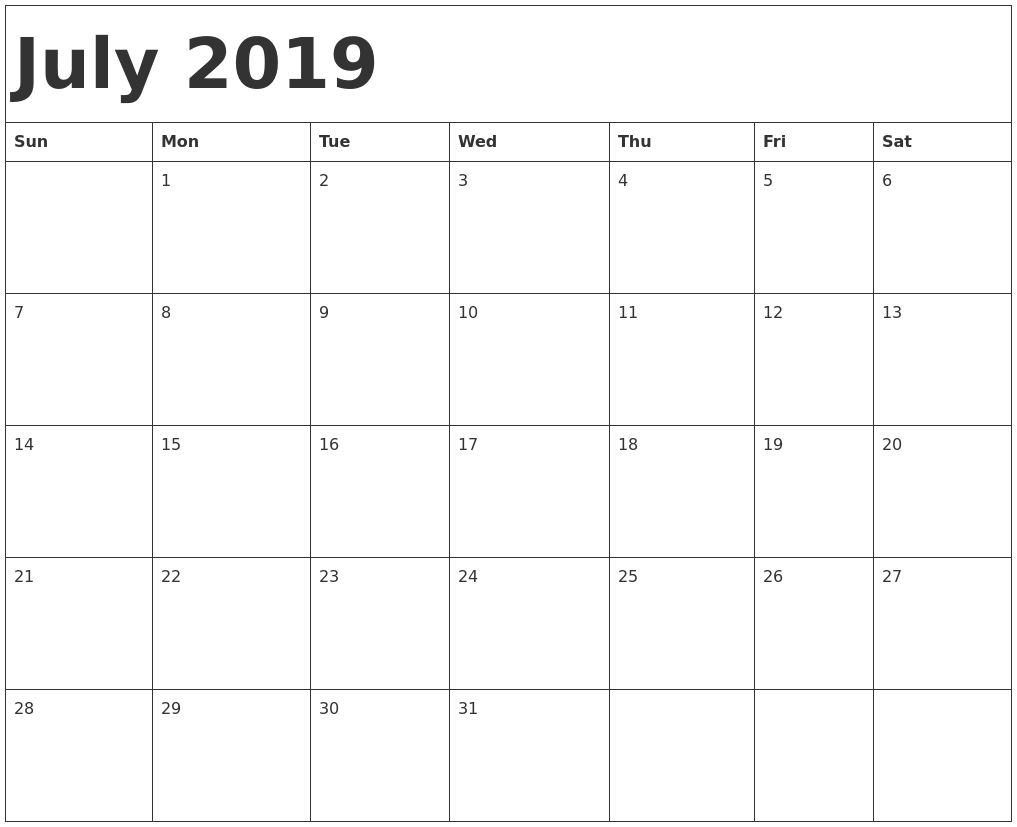 Pick July 2019monthly Calendar Printout Cute July Calendar June