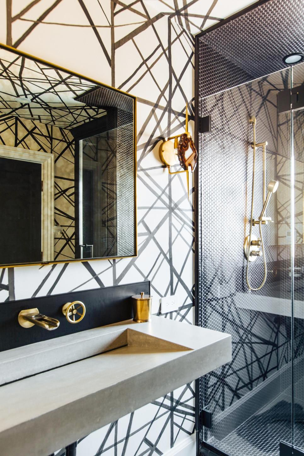 This Modern Bathroom Is Fitted With Kelly Wearstler Wallpaper And Cool Agate Sconces