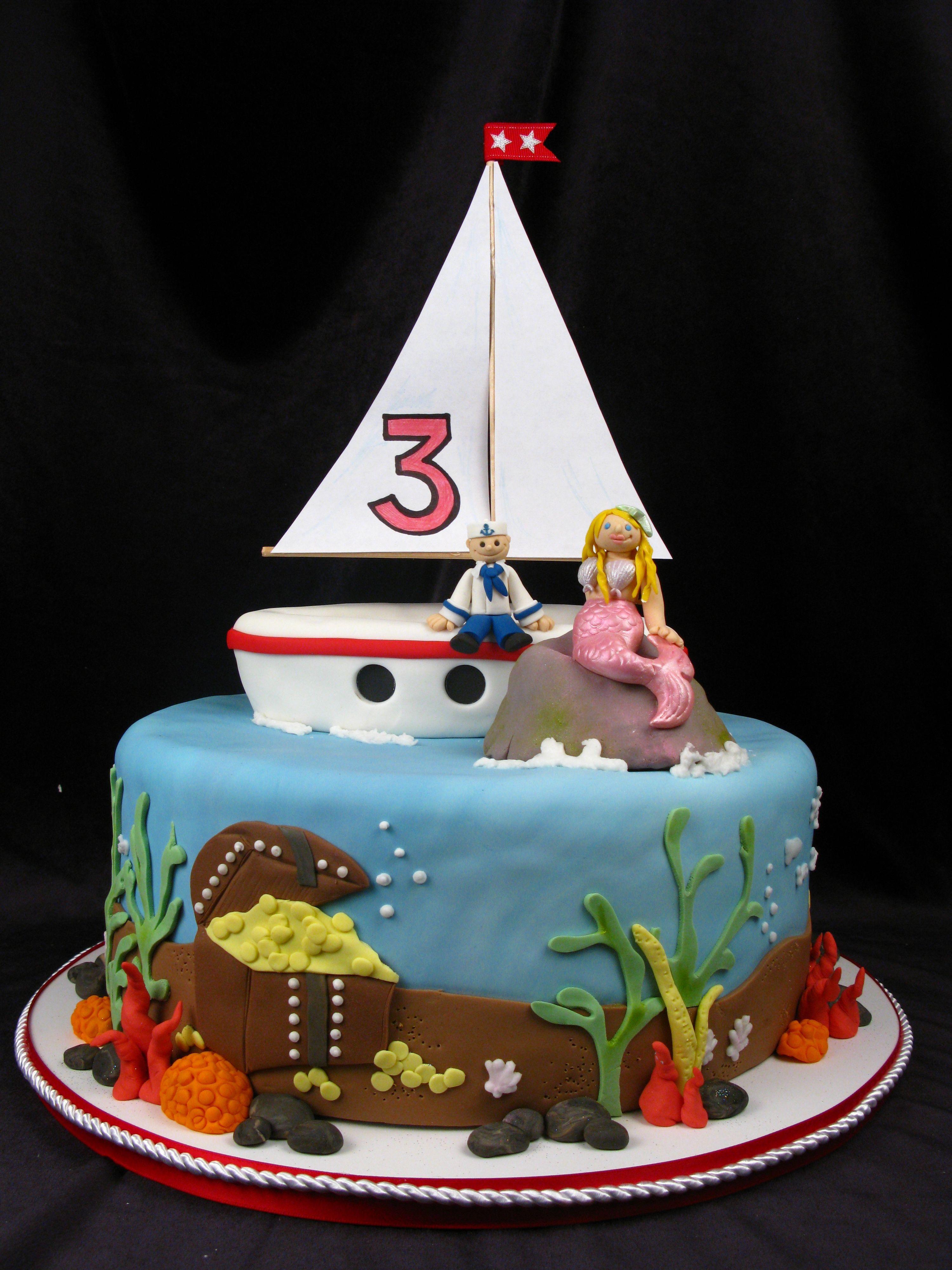 Mermaid Sailor Undersea Treasure Water Theme Boat Cute Kids - Boat birthday cake ideas