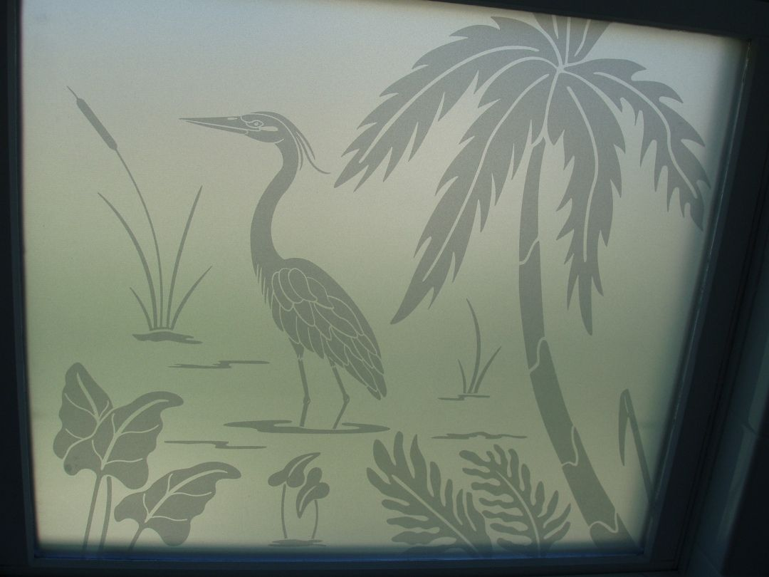 Frosted Glass Decals Etched Glass Heron Decals Overlaid