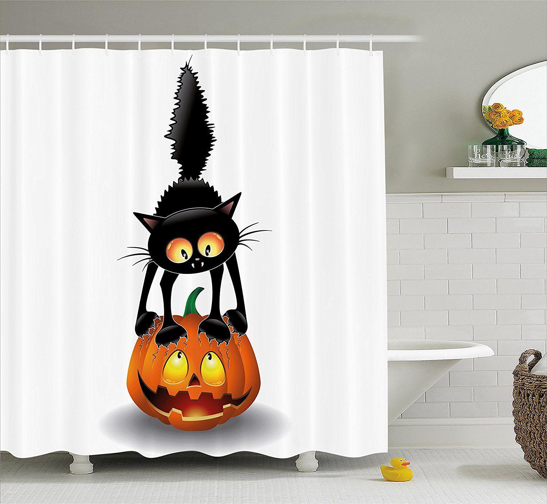 Halloween Decorations Shower Curtain Set Black Cat on ...