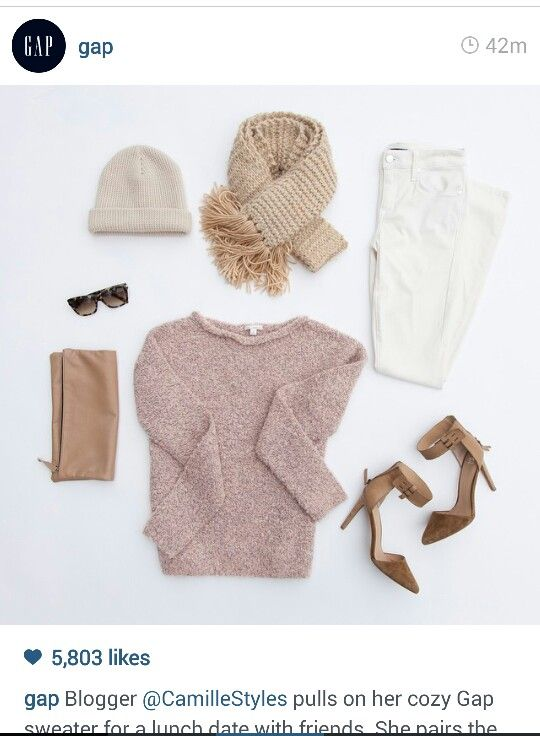 {Picture Only} Love this outfit!  White skinnys, pink sweater, nude/tan accessories. Except I would wear tan ankle boots or flats inatead of the ankle strap heels.