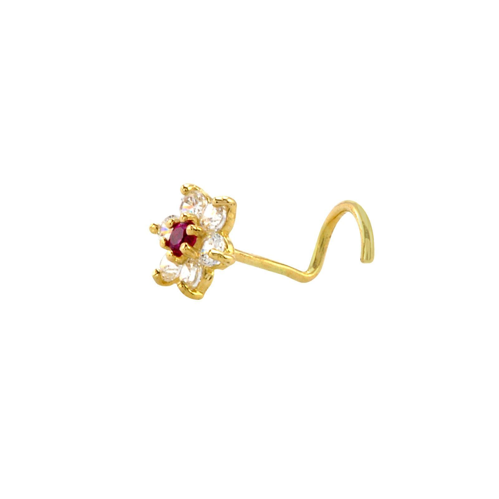 Yellow nose piercing  Flower Nose Stud G k Yellow Gold  mm Red and White CZ Nose