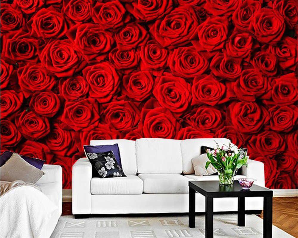 Beibehang Custom Wallpaper Red Rose Wall Tv Background Wall Li