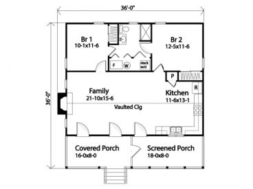 36x36 two bedroom house plan.962 sq ft. | Mostly Small Houses ... on