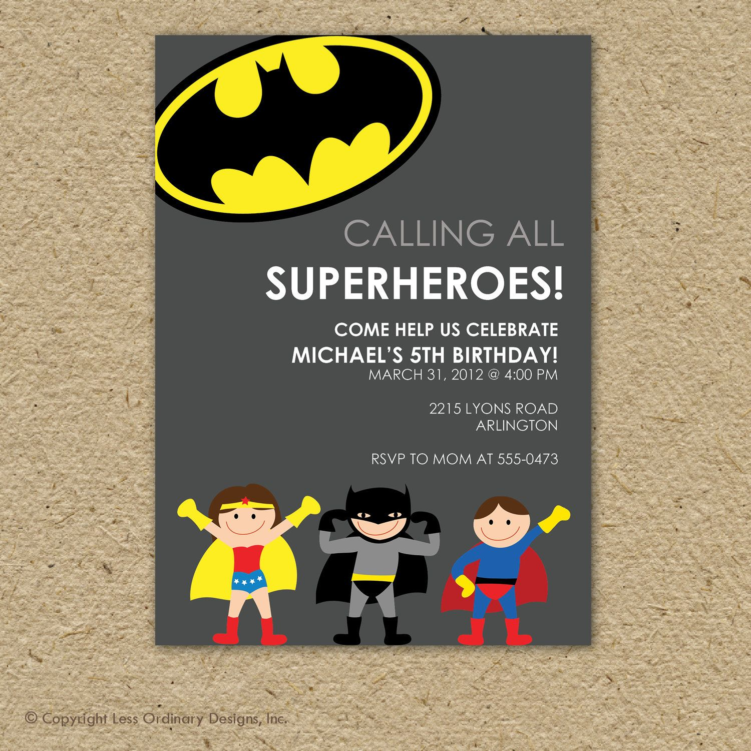 Custom super hero birthday party invitation - superman or batman ...