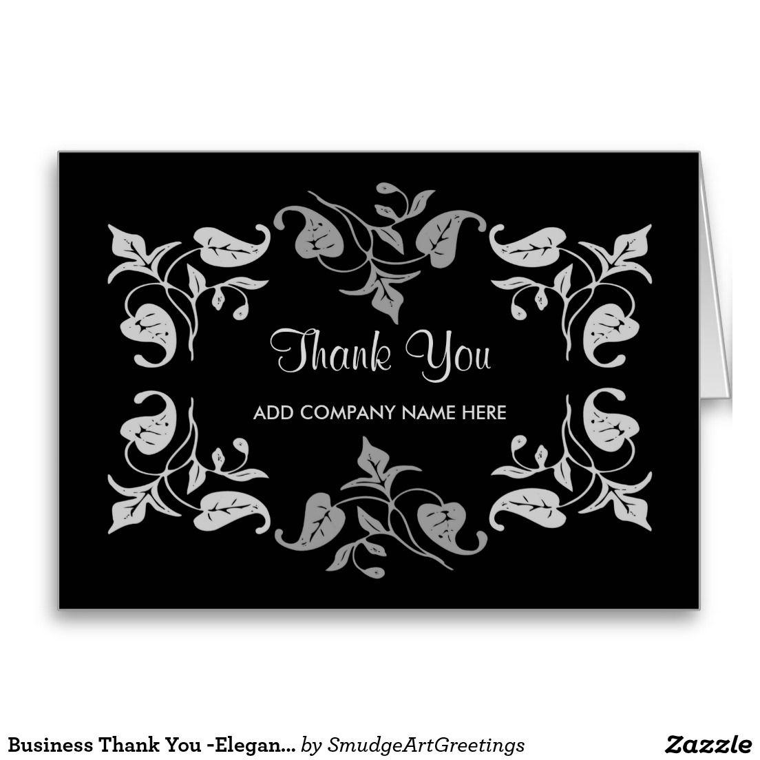 Business Thank You Elegant Silver Leaves On Black Card Black Card