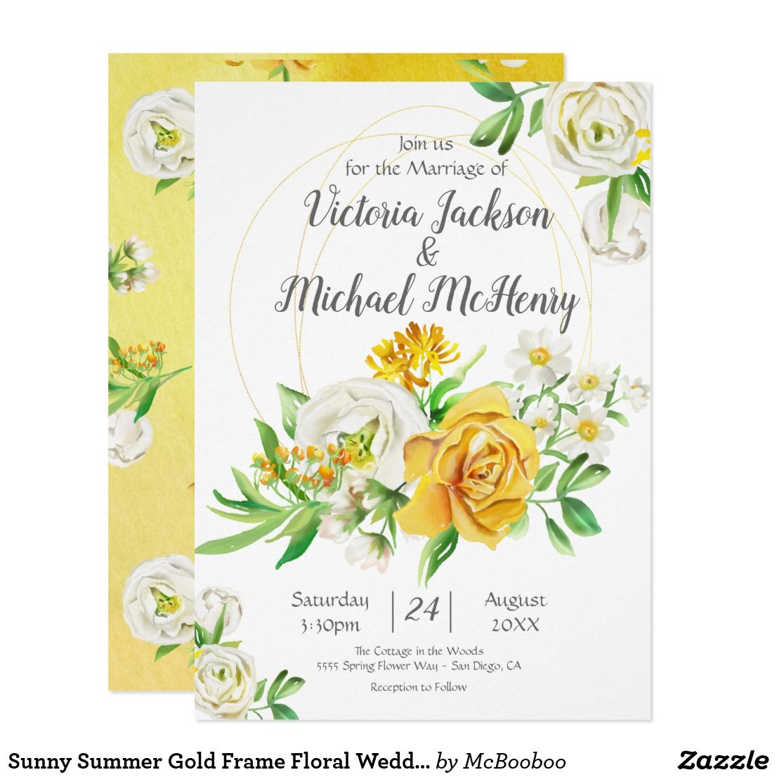 Sunny Summer Gold Frame Fl Wedding Invitation Zazzle