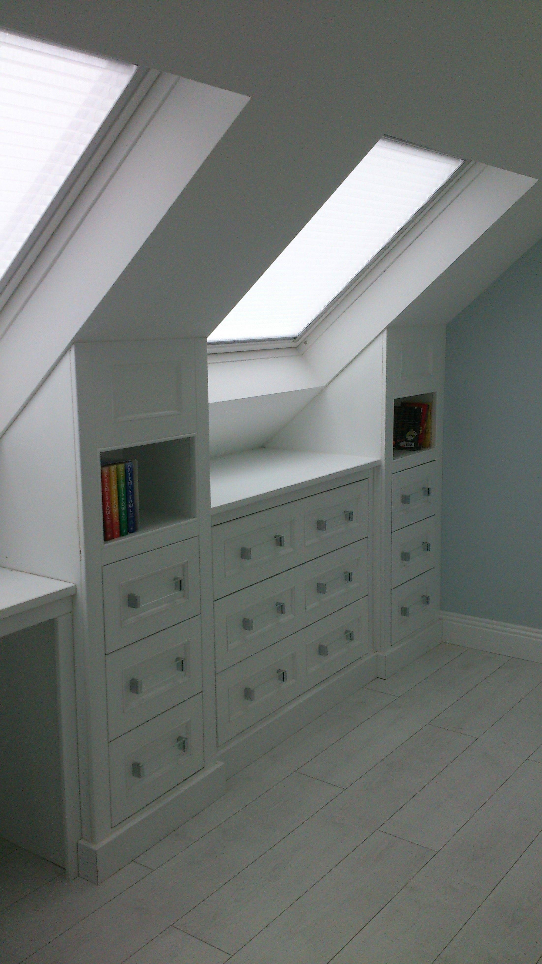 Bedroom ideas for loft rooms  attic storage with workdesk  Design  Pinterest  Attic storage